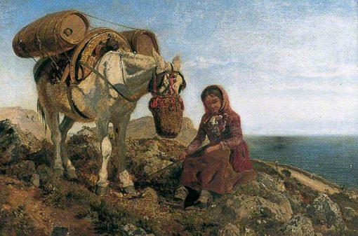 Italian Shepherdess on the Corniche near Nice | Henry Moore | Oil Painting