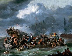 A Sea Battle Between Christians and Turks | Johannes Lingelbach | Oil Painting