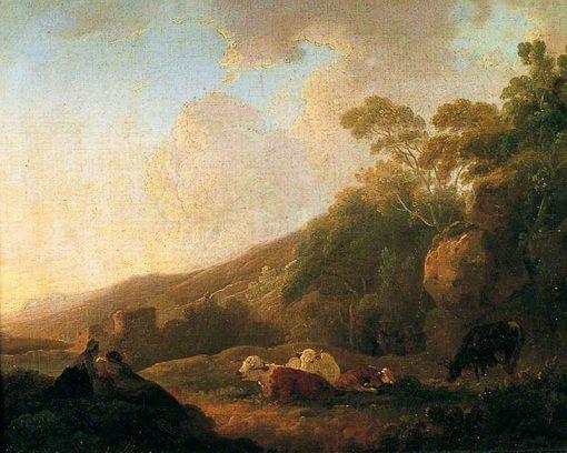 Evening Landscape   Julius Caesar Ibbetson   Oil Painting