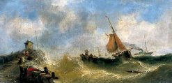 Fishing Boats off the French Coast Beating to Windward   William Adolphus Knell   Oil Painting