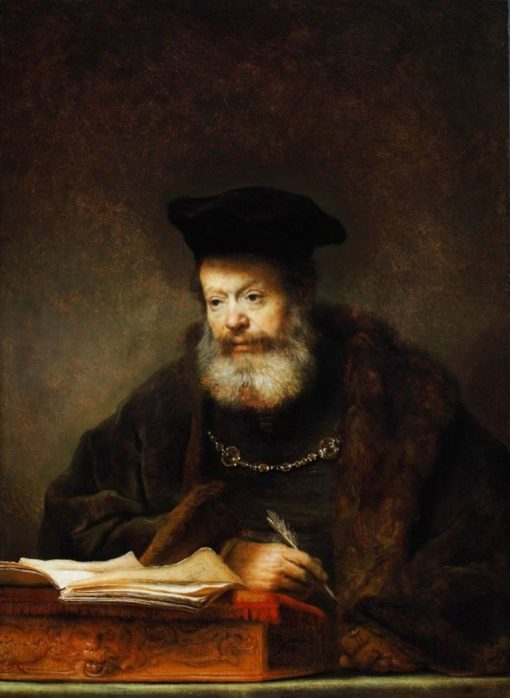 Scholar at his Writing Table | Rembrandt van Rijn | Oil Painting
