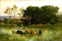 Five Cows in Pasture | Edward Mitchell Bannister | Oil Painting