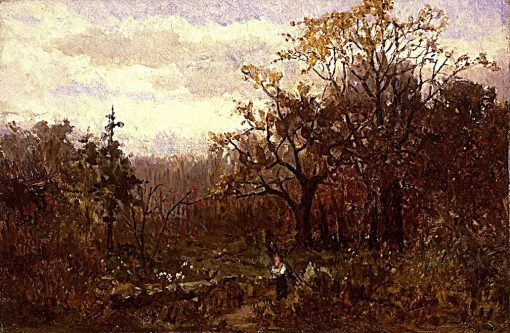 Landscape - Woman Carrying Wood   Edward Mitchell Bannister   Oil Painting