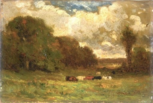 Landscape with Cows and Trees | Edward Mitchell Bannister | Oil Painting