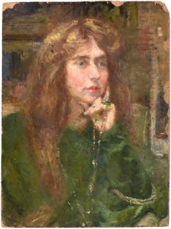 Natalie with Necklace   Alice Pike Barney   Oil Painting
