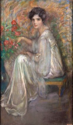 Young Woman with Roses | Alice Pike Barney | Oil Painting