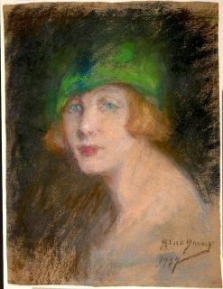The Green Hat   Alice Pike Barney   Oil Painting