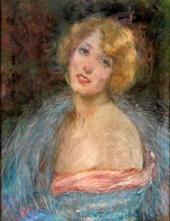 Blonde Girl with Boa | Alice Pike Barney | Oil Painting