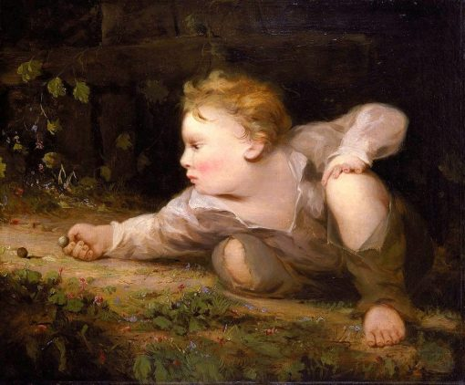 Boy Playing Marbles | David Gilmour Blythe | Oil Painting
