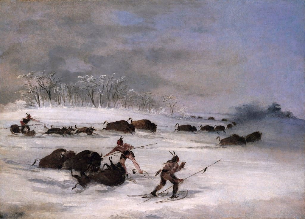 Sioux Indians on Snowshoes Lancing Buffalo