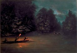 Deer Hunting by Torchlight in Bark Canoes | George Catlin | Oil Painting