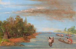Sac and Fox Sailing in Canoes | George Catlin | Oil Painting