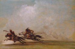 Comanche Warrior Lancing an Osage