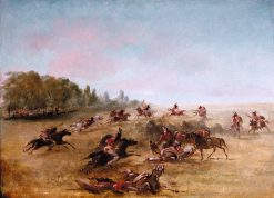 Mounted War Party Scouring a Thicket | George Catlin | Oil Painting