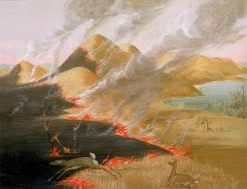 Prairie Bluffs Burning | George Catlin | Oil Painting