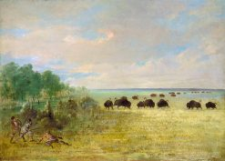 Catlin and Party Stalking Buffalo in Texas   George Catlin   Oil Painting