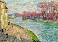 Figures on the Quay of the Marne   Henri Lebasque   Oil Painting