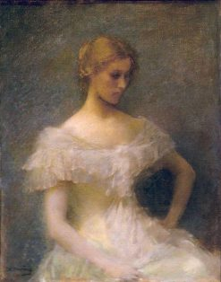 Young Girl Seated | Thomas Wilmer Dewing | Oil Painting