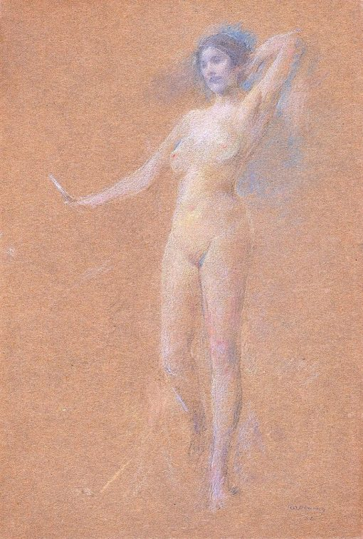 Standing Nude Figure of a Girl | Thomas Wilmer Dewing | Oil Painting