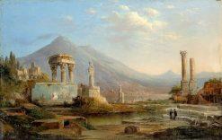 Vesuvius and Pompeii   Robert Seldon Duncanson   Oil Painting