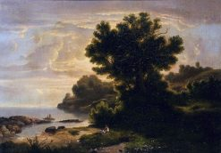Landscape with Family by Lake   Robert Seldon Duncanson   Oil Painting