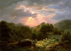 Landscape with Sheep   Robert Seldon Duncanson   Oil Painting