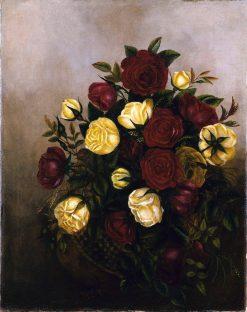 Roses Still Life   Robert Seldon Duncanson   Oil Painting