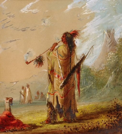 A Shoshonee Indian Smoking | Alfred Jacob Miller | Oil Painting