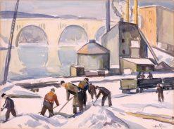 C.W.A. Worker at Key Bridge | Edgar Nye | Oil Painting