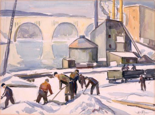 C.W.A. Worker at Key Bridge   Edgar Nye   Oil Painting