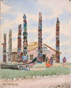 Alaska Building with Totems at St. Louis Exposition | Theodore J. Richardson | Oil Painting