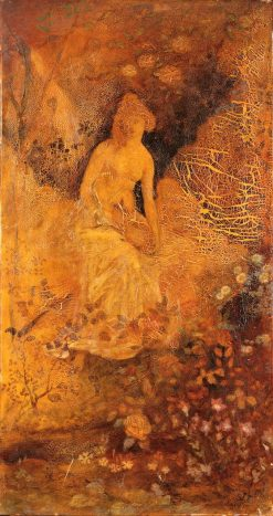 Panel for a Screen: Woman with a Deer | Albert Pinkham Ryder | Oil Painting