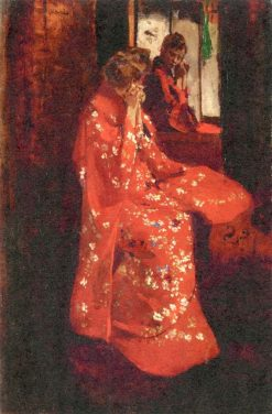 Girl in a Red Kimono before a MIrror | George Hendrik Breitner | Oil Painting