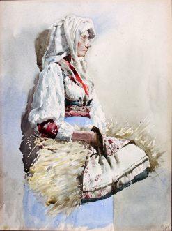 Italian Peasant Woman   Giuseppe Signorini   Oil Painting