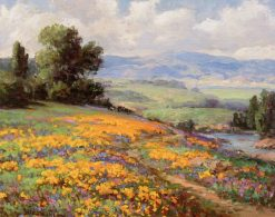 Hillside of Poppies with Cumulus Clouds | William Franklin Jackson | Oil Painting