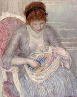 Girl with a Basket of Ribbons | Frederick Carl Frieseke | Oil Painting
