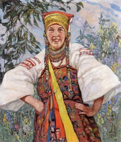 Young Woman in Traditional Ukranian Costume | Konstantin Semenovich Vysotsky | Oil Painting