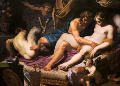 Hercules Kicking Faunus out of Omfale's Bed | Abraham Bloemaert | Oil Painting