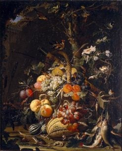 Forest floor still life with fruit