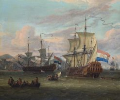 Dutch Ships at a Port on the Mediterranean Sea | Abraham Jansz. Storck | Oil Painting