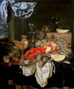 Large still life with lobster | Abraham van Beyeren | Oil Painting
