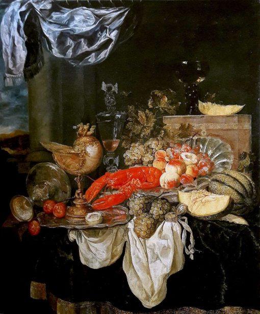 Large still life with lobster | Abraham van Beyeren | Oil Painting