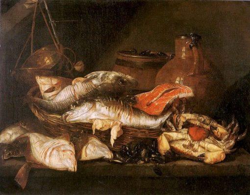 Fish in a Basket near a Scale | Abraham van Beyeren | Oil Painting