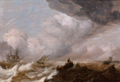 Ships in a Squall | Abraham van Beyeren | Oil Painting