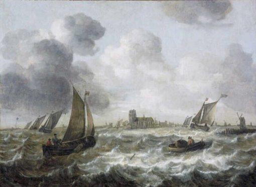 River View with Dordrecht in the Distance   Abraham van Beyeren   Oil Painting