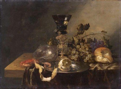 Still life with silver bowl and beaker screw   Abraham van Beyeren   Oil Painting