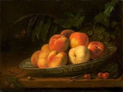 Bowl of peaches | Abraham van Calraet | Oil Painting