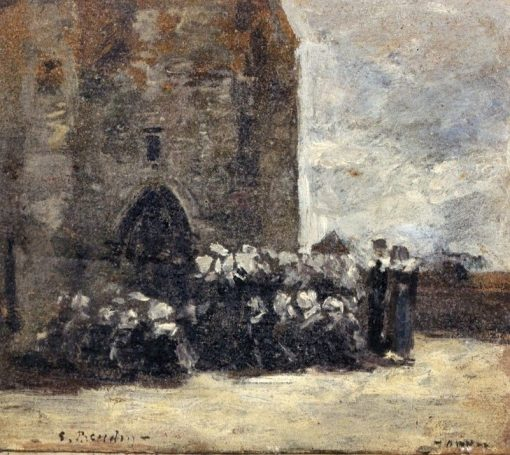 Breton Women in front of Church at Hanvec | Eugène-Louis Boudin | Oil Painting
