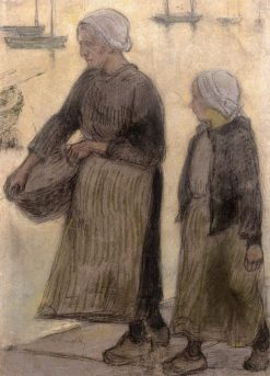 Breton Women on the Quays | Wladyslaw Slewinski | Oil Painting