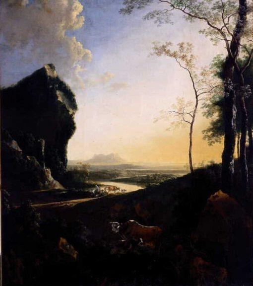 Mountainous Evening Landscape | Adam Pynacker | Oil Painting